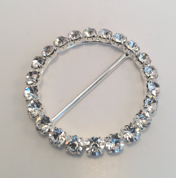 Round Silver & Diamante Buckle (4.8cm)