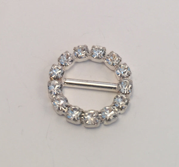 Round Silver & Diamante Buckle (15mm)
