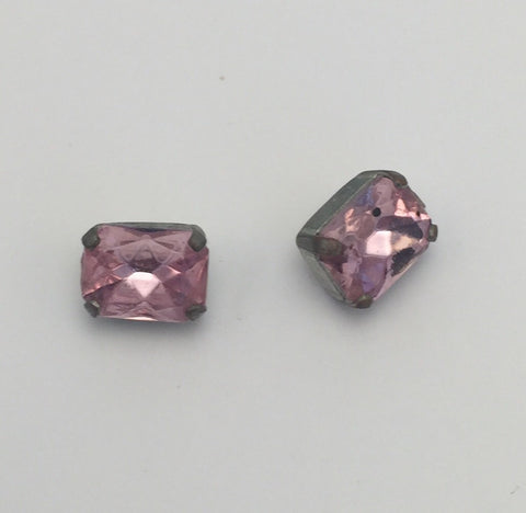 Pink (silver shank) /  Rectangle  / Crystal