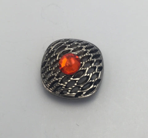 Gunmetal with Orange Diamante / Square / Mesh