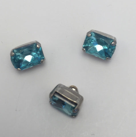 Aqua (silver shank) /  Rectangle  / Crystal