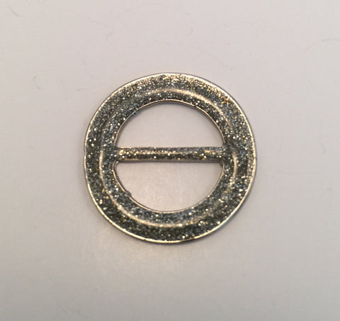 Round Silver & Glitter Buckle - French (2.3cm)
