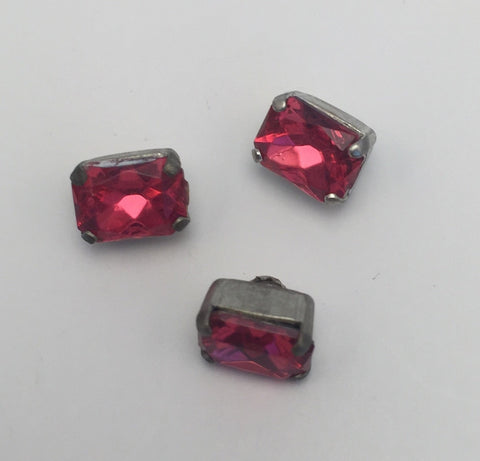 Hot Pink (silver shank) /  Rectangle  / Crystal