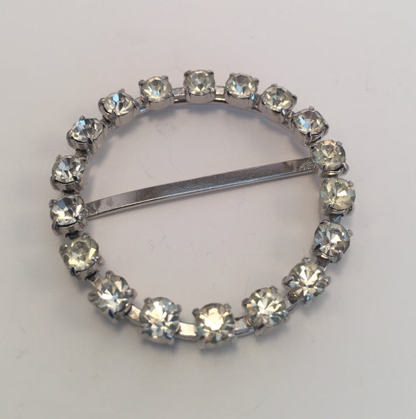 Round Silver & Diamante Buckle (4.2cm)