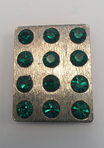 Rectangle Silver & Large Green Diamante Buckle (4cmx5cm)