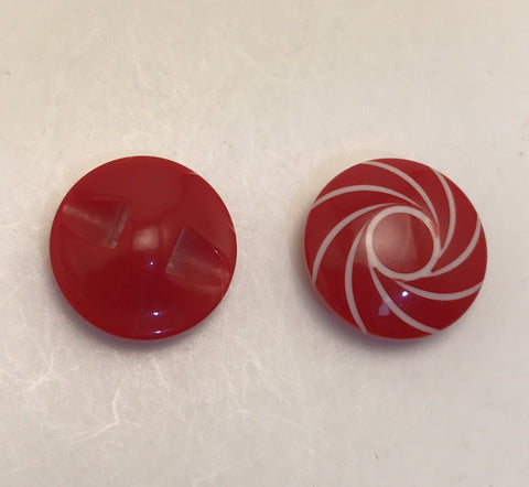 Red with white swirled lines / Domed / Shiny