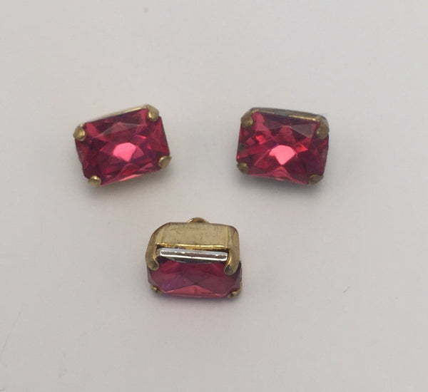 Hot Pink (gold shank) /  Rectangle  / Crystal