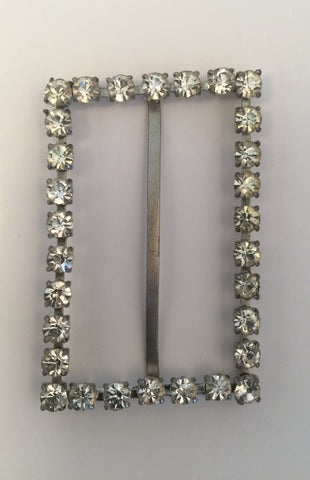 Rectangle Silver & Diamante Buckle (6cmx4cm)