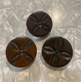 Bakelite / Brown Carved / Coat Button