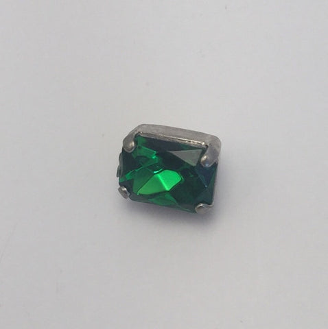 Green (silver shank) /  Rectangle  / Crystal