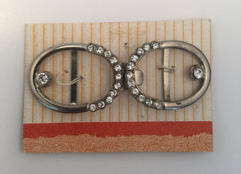 Oval Silver & Diamante Buckle (5.8cmx2.1cm)