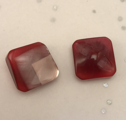 Red Multi-coloured square button / Curved / Shiny