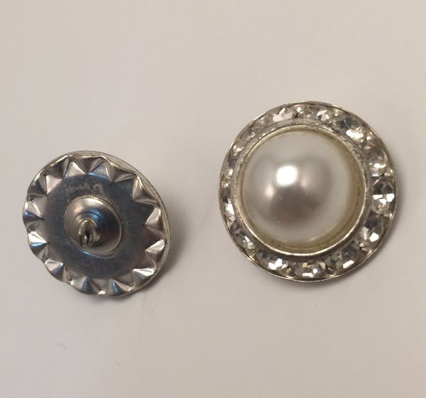 Silver / Diamante Edge / Dome Pearl Centre