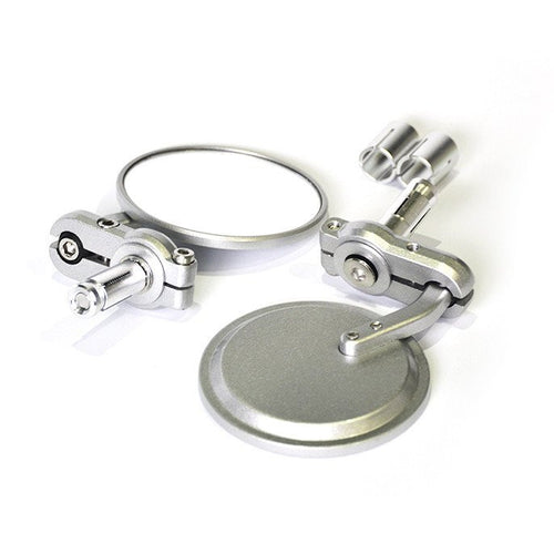 Round Bar End Mirrors - Silver