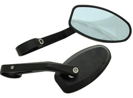 Oval Bar End Mirrors - Silver