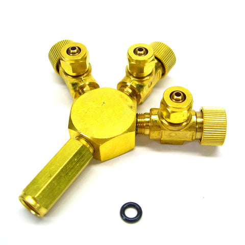 brass co2 brass 3way splitter