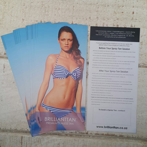 x50 Before & After Spray Tan Advice Flyers