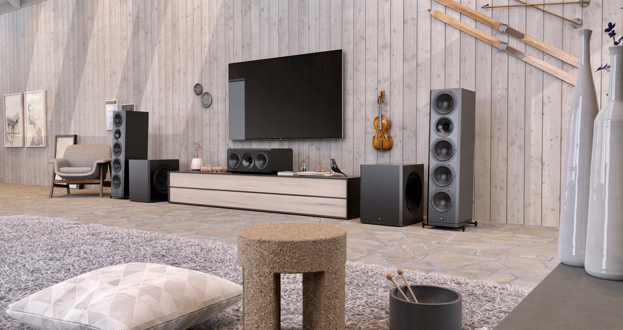 Arendal Sound Cabin Living Space Setup Scene (FAQ Page)