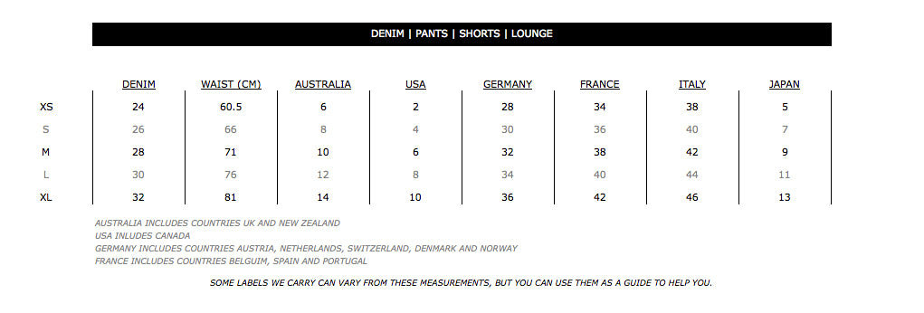 Size Chart for Denim, Pants, Loungewear