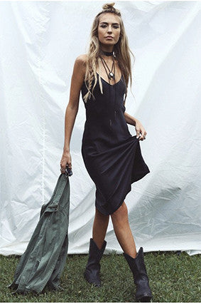CLASSIC 90'S SILK SLIP DRESS - BLACK