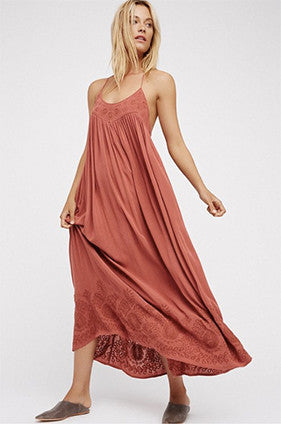 Free People EMBROIDERED ELAINE MAXI SLIP DRESS - TERRACOTTA