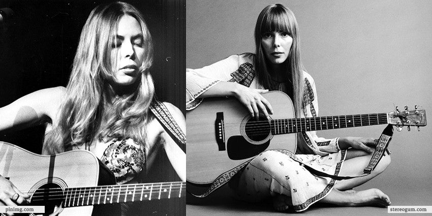 Joni Mitchell with Guitar and Slip Dress