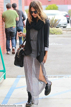 Maxi dress with Doc Martens