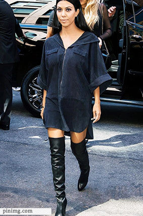Tunic Dress with Knee Boots