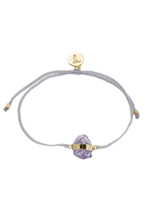 Rough Amethyst Crystal Bracelet - Pastel Grey - Gold
