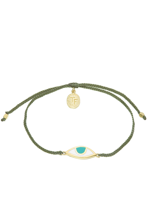 Eye Protection Bracelet - Olive Green - Gold
