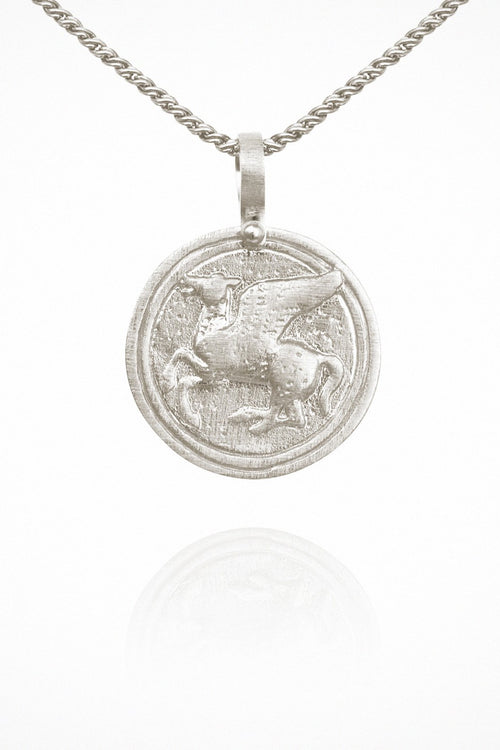 Pegasus Coin Necklace - Silver