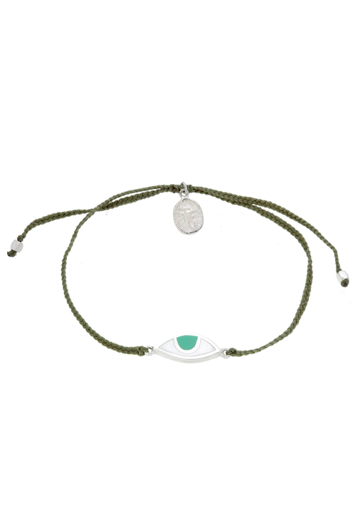 Eye Protection Bracelet - Olive Green - Silver
