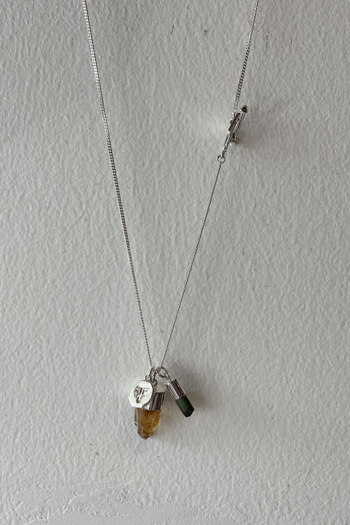 Superpower Charm Necklace - Green Tourmaline and Citrine - Silver