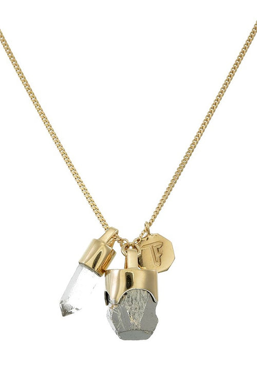 Superpower Charm Necklace - Pyrite and Quartz - Gold (RESTOCKED)