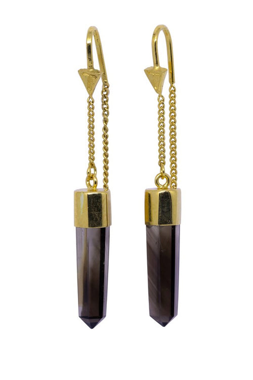 Smokey Quartz Crystal Pull Through Earrings - Gold