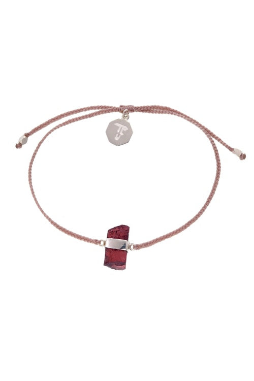 Rough Garnet Crystal Bracelet - Dusty Pink - Silver