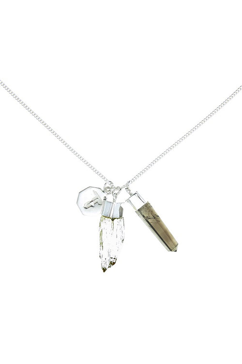Superpower Charm Necklace - Scapolite and Smokey Quartz - Silver (RESTOCKED)