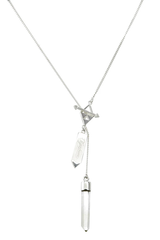 Small Crystal Necklace - Quartz Crystal Point - Silver