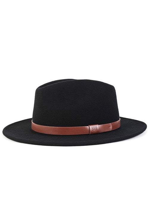 Messer Fedora (Unisex) - Black/Tan Band