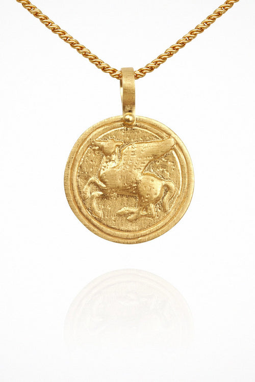 Temple Of The Sun | Pegasus Coin Necklace - Gold