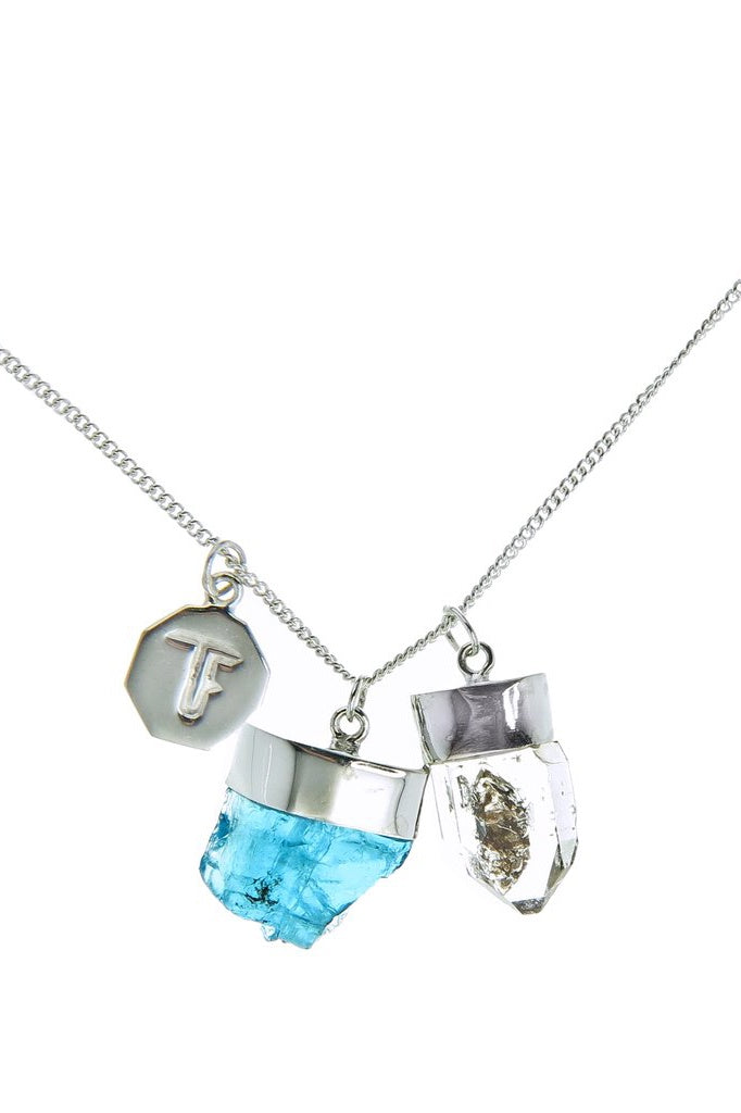 Super Power Charm Necklace - Apatite & Diamond Quartz - Silver