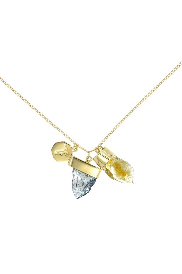 Superpower Charm Necklace - Citrine and Iolite - Gold