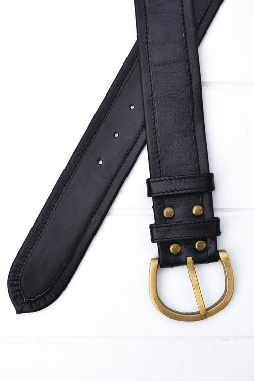 Plain Jane Belt - Black/Brass Buckle
