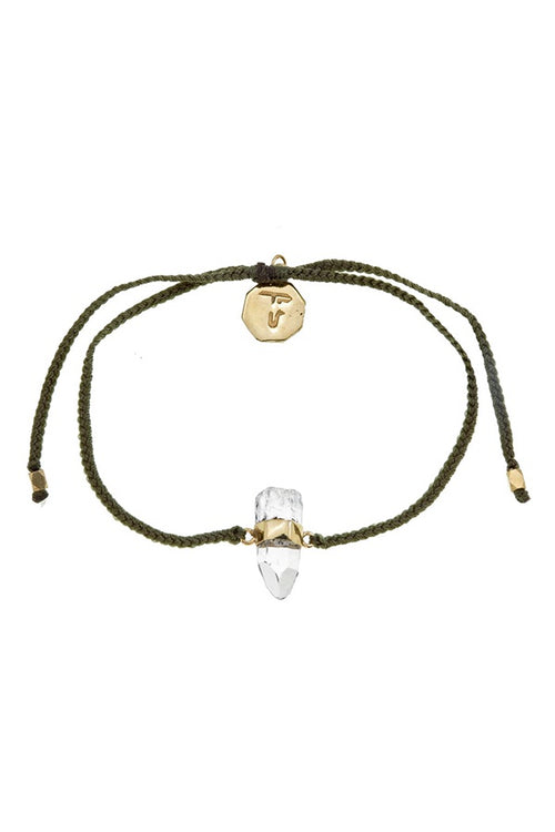 Quartz Crystal Bracelet - Olive Green - Gold