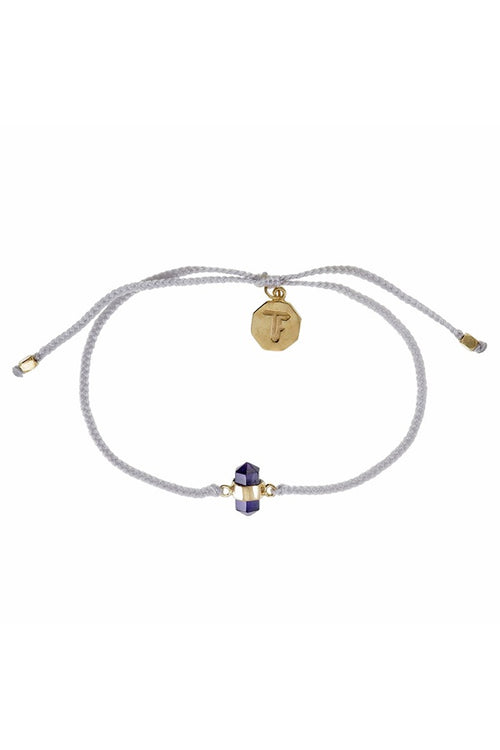Cut Amethyst Crystal Bracelet - Pastel Grey - Gold