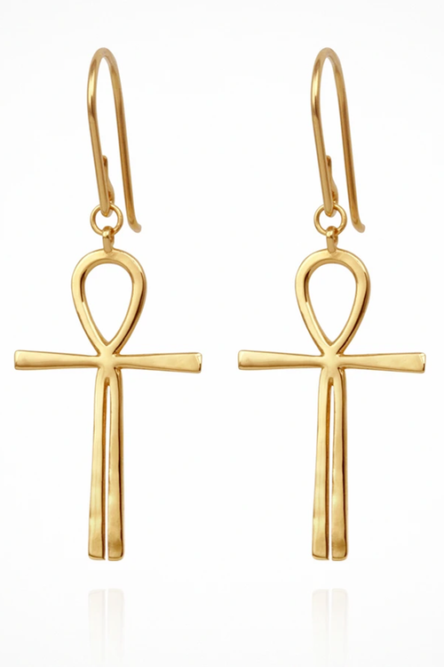 Ankh Earrings - Gold