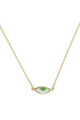 Eye Spy Mini Necklace - Green - Gold