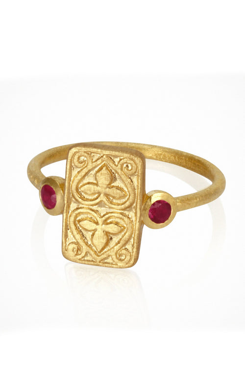 Temple Of The Sun | Ruby Seal Ring - Gold