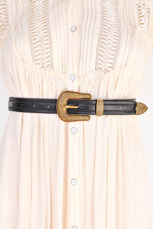 Rodeo Belt - Black/Brass Buckle