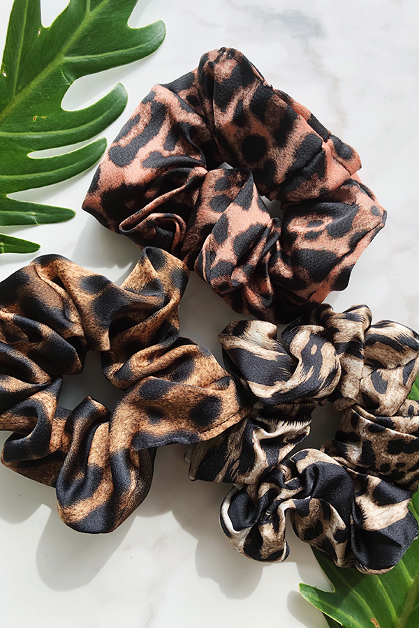 Snow Leopard Satin Scrunchie